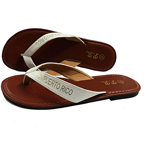 Puerto Rico Sandals White (Fabric-and-Leather, 5)