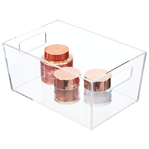 mDesign - Cosmetica-organizer - lade-organizer/opbergbox - voor wastafel of badkamerkast - voor oogschaduw, make-up etc. - plastic/met handvatten - doorzichtig