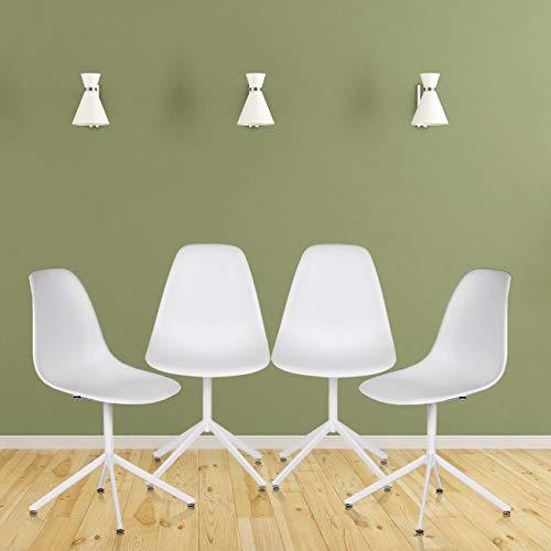 MY SIT Sitzgruppe 4er Set Retro Stuhl Design Stuhl Esszimmerstühle Bürostuhl Wohnzimmerstühle Lounge Küchenstuhle aus Kunststoff mit Rückenlehne Beez GO in Weiß