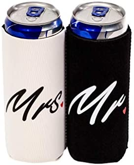 QualityPerfection 2 Slim Can Cooler Sleeves Beer Energy Drink Blank Skinny 12 oz Neoprene Coolie product image