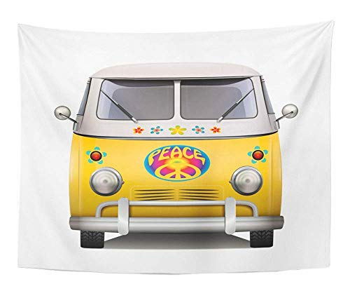 "AOCCK Wandteppiche Tapestry Wall Hanging Retro Vintage Hippie Van Design 60S Caravan Car Travel 70S Bohemian Boho 60"" x 80\"" Home Decor Art Tapestries for Bedroom Living Room Dorm Apartment"