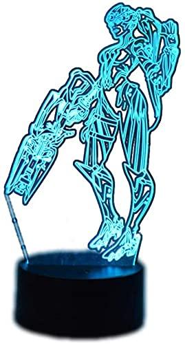 Overwatch Widowmaker 3D luz nocturna, ilusión óptica lámpara con control remoto, 16 colores que cambian de Navidad, Halloween, regalo de cumpleaños para niños y niñas