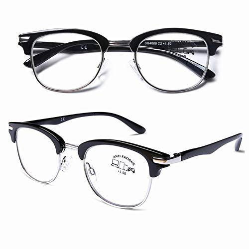 DOOViC Blaulichtfilter Lesebrille 2,0 - Rund/Schwarz Metall Halbrahmen Computebrille Brille mit Sestärke für Herren/Damen