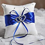 Anneau de mariage oreiller 20 x 20 cm Double coeur strass décor coussin de mariée en satin avec rubans fournitures de décoration de mariage - bleu