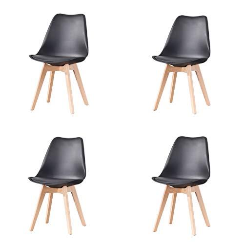 Juego de 4 sillas de comedor clásicas clásicas nórdicas de cuero con patas de madera maciza para muebles de hogar y oficina comercial (negro)