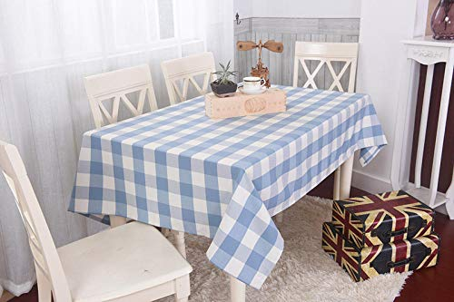 SMLXVHN Blaue Große Karierte Tischdecke,Baumwolltischdecken,Tischtuchfür Hauptesszimmer,Hausküche Picknick,Gartentischdecke Im Garten 90X90cm