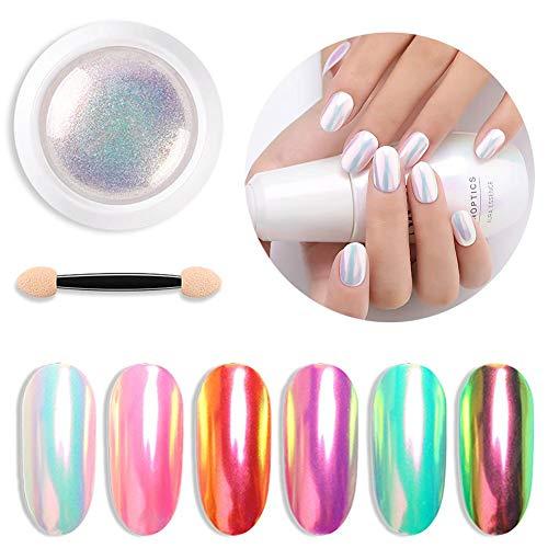 FANMURAN 1 Box 0,3 g Nagelkunst Puder Staub Trend Regenbogen Effekt Glitzer-Pigment Maniküre...