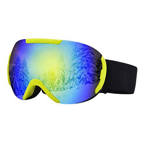 BAIAA Skibrille, Einstellbare Doppelte Antibeschlag Schutzbrille mit Winddichtem UV Schutz für Outdoor Sport Radfahren Motorrad Schneemobil Skibrille (E)
