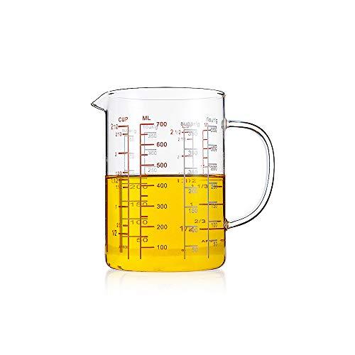 HARVESTFLY Messbecher aus Hitzebeständiges Glas, Messkanne,700ml, Skalierung für Milliliter, Tassen und Gramm
