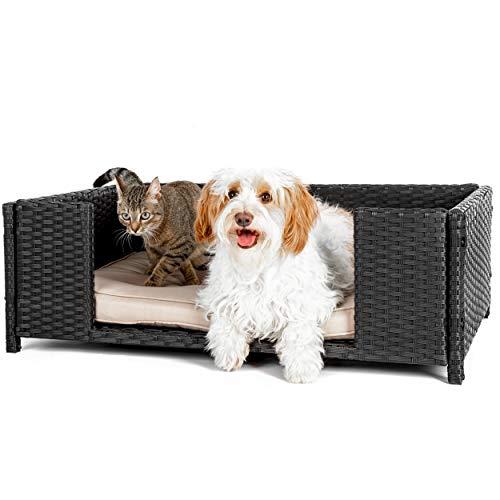 weico Hundebett in Rattan-Optik 90 x 60 x 30 cm - gemütliches Hundebett mit waschbarem Kissen - stabiles Haustierbett für Indoor und Outdoor in schwarz
