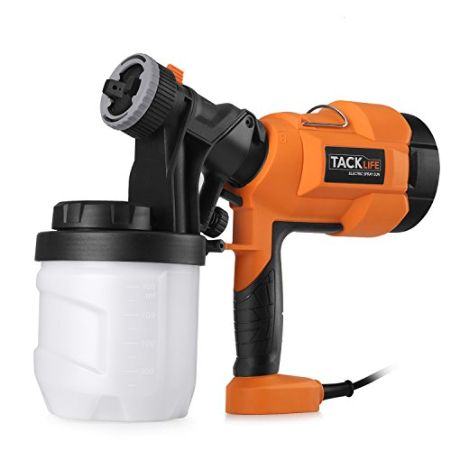 Tacklife SGP15AC 400W 800ml/min Advanced Hand Held Electric Spray Gun with Three Spray Patterns, Three Nozzle Sizes and 900ml Detachable Container, Paint Sprayer with Adjustable Valve Knob