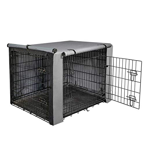 "yotache Dog Crate Cover for 36"" Medium Double Door Wire Dog Cage, Lightweight 600D Polyester Indoor/Outdoor Durable Waterproof & Windproof Pet Kennel Covers, Gray Covers Kennel"
