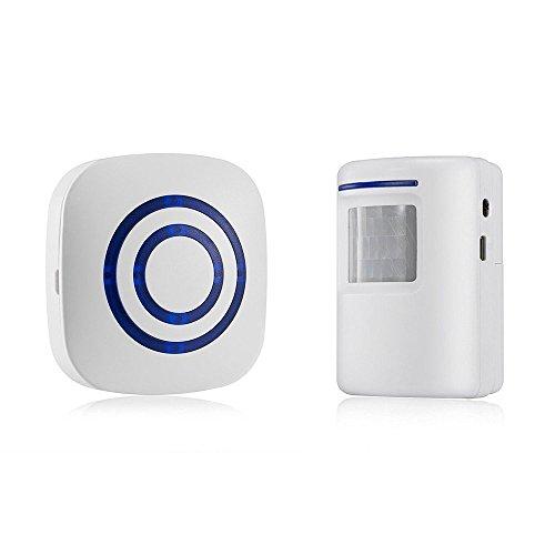 gzcrdz inalámbrico entrada alerta: Sensor de movimiento por infrarrojos timbre alarma timbre inalámbrico con 1Sensor y 1receptor–timbre canciones–Indicadores LED