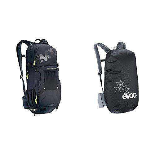 EVOC FR ENDURO BLACKLINE 16L Outdoor Protektor Rucksack Backpack für Bike-Touren & Trails (TÜV/GS Zertifiziert), Schwarz & RAINCOVER SLEEVE Rucksack Regenhülle, Schwarz, M