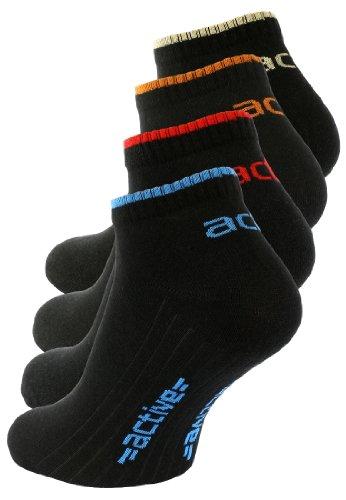 """8 Paar schwarze Herren Active Sneaker Socken, mit """"active"""" Schriftzug aus geschmeidig weicher Baumwolle /Elasthan mix, Gr. 39-42"""