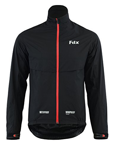 FDX Mens Waterproof Cycling Jacket Breathable Lightweight Running Coat (Black/Red, Medium)