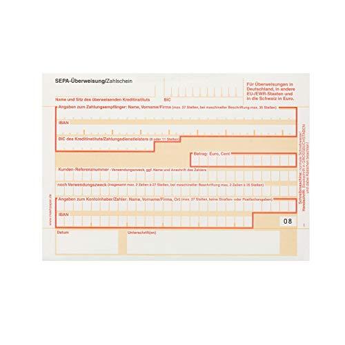 SEPA Überweisungsformular Zahlschein 100 Stück 2-fach selbstdurchschreibend 326211