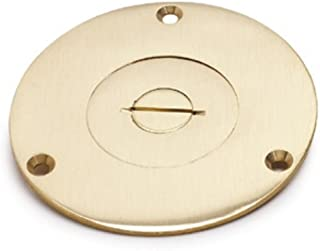 Hubbell Wiring Systems S2725 Brass Round Floor Box Combination Single Service Cover, 3-7/8