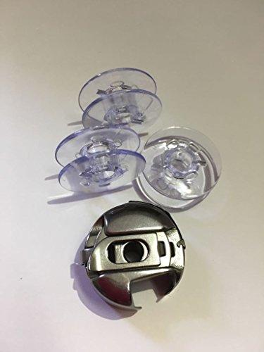 Spulenkapsel + 3 Spulen für Pfaff Nähmaschinen Select 2.0, 3.0, 4.0, 3.2, 4.2