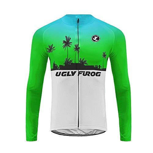 Uglyfrog Fahrradtrikot Herren Langarm Winter Thermal Radjacke Mantel MTB Jacke Mountainbike Rennrad Fleece Winddichte Fahrrad Jacken