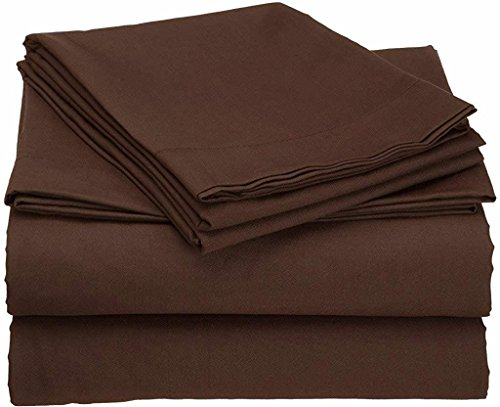 """Xtream Fabric 100% Cotton 4 Piece Bed Sheet Set - 600 Thread Count Ultra Soft Luxury Long Staple Combed Cotton Sheetsfits Upto 6"""" deep Pocket Mattress (Full XL, Chocolate Solid)"""