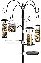 Best Choice Products 6-Hook Bird Feeding Station, Steel Multi-Feeder Kit Stand for Attracting Wild Birds w/ 4 Bird Feeders, Mesh Tray, Bird Bath, 5-Prong Base - Black