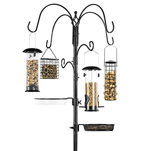 Best Choice Products 6-Hook Bird Feeding Station, Steel Multi-Feeder Kit Stand for Attracting Wild...