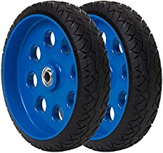 CoscoProducts COSCO 10 Inch Low Profile Replacement Wheels for Hand Trucks, Flat-Free, (Blue, 2 Pack)