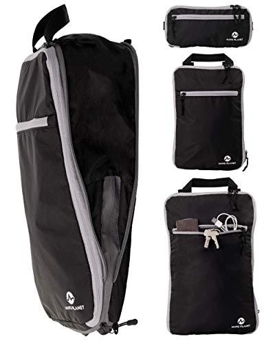 Innovative Packtaschen mit Kompression. Packwürfel = Rucksack. Packing Cubes für Backpacker oder als Koffer-Organizer Set | schwarz | Mavo Planet