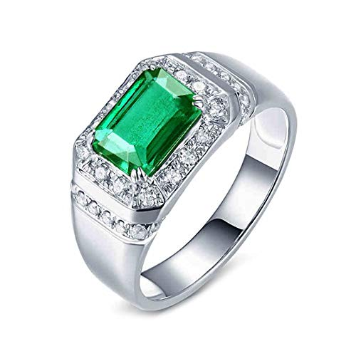 AtHomeShop Real Gold Collection, PT950 Platinum Rings, Rectangle Women's Rings with Shiny Emerald Green Shape Emerald and Diamond Marriage Proposal Ring for New Year Gift White Gold
