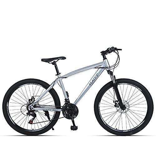 Bicicleta De Montaña De Bicicleta Adulta,Freno De Disco De 26 Pulgadas,Bicicleta De Montaña De Velocidad De Absorción De Golpes, Rueda De Patas De Plata_26 Pulgadas 27 Velocidad,