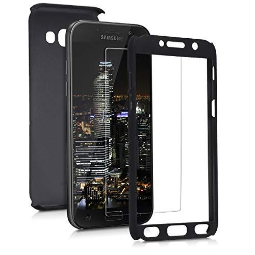 kwmobile Hülle kompatibel mit Samsung Galaxy A5 (2017) - komplette Abdeckung - inkl. Display Schutzglas - Case Metallic Schwarz