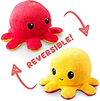 TeeTurtle   The Original Reversible Octopus Plushie   Patented Design   Red and Yellow   Show your mood without saying a...