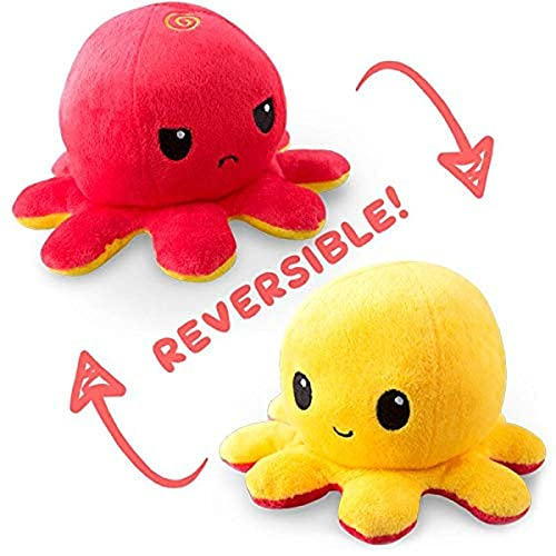 TeeTurtle   The Original Reversible Octopus Plushie   Patented Design   Red and Yellow   Show your mood without saying a word!