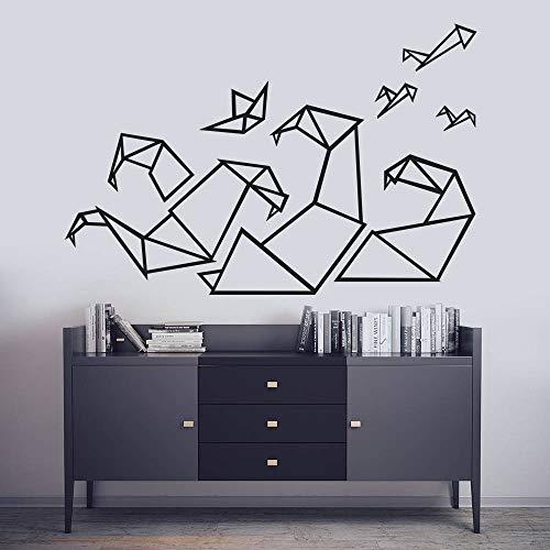 Pegatinas de pared de vinilo de origami geométrico decoración del hogar sala de estar calcomanías de arte de pared gráfico niños dormitorio olas DIY calcomanía mural 56x85 cm