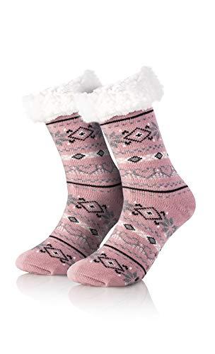 Mary's Kuschelsocken | Einheitsgröße | Hüttensocken | mit Teddyfutter ABS Sohle | Wintersocken | Weihnachtssocken | Stoppersocken| Home Slippers (Rosa)