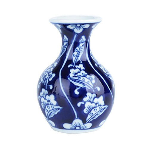 Vaso Porcelana Long Neck Big Leaves Urban Branco/Azul