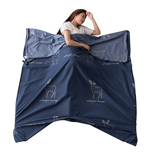 LIOOBO Saco de Dormir Sábana de Viaje de Hotel de algodón Lavado Individual Hotel a través de la Bolsa de Dormir Sucia Liner Saco de Dormir liviano (Azul Oscuro)