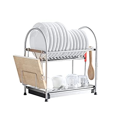 NEX Dish Rack Stainless Steel Two Tier Draining Rack Rustless Storage Rack Lacquer Kitchen Supplies Drying Frame(D002)