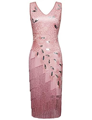 Coucoland Vestido Gatsby de los años 20 con flecos para mujer, diseño de pavo real, vestido de flapper para disfraz de Gatsby, fiesta de graduación