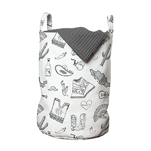 ABAKUHAUS México Bolsa de lavandería, Los productos folclóricos Boceto de arte, Cesta con asas Cierre de cordón para las lavanderías, 33 x 33 x 49 cm, Del gris y blanca