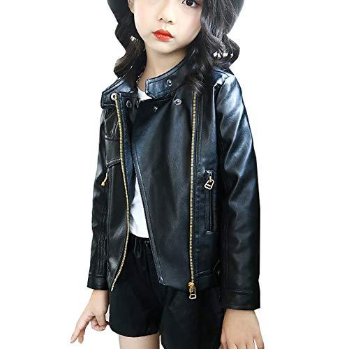 MissChild Giacca a vento autunno inverno ragazze - Giubbotti finta pelle moto - Giacche ecopelle manica lunga - Cappotti per Bambini