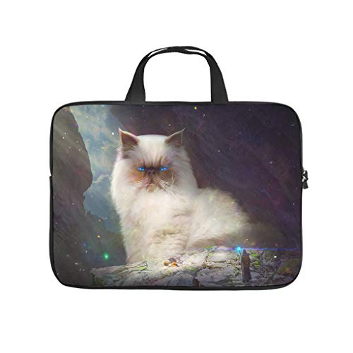 fantasy cat fluffy blue eyes magician fantasy Laptop bag Pattern Laptop Case Bag Soft Wear-Resistant Laptop Sleeve with Portable Handle for Women Men white 13 zoll