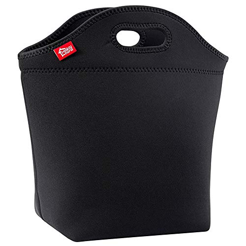 "Large Black Lunch Bag for Adults, Yookeehome 13.5"" x 13"" x 5.5"" Thick Neoprene Insulated Big Lunch Tote Box Thermal Reusable Unisex Lunch bag for Men Women Great for Work Office Outdoors Travel"