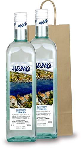 Premium Tsipouro | Idoniko | ohne Anis 2x 700ml Glas Flasche mit Geschenk Tasche
