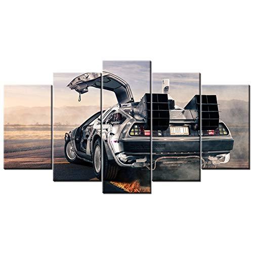 FJNS 5 Pezzi Decorazioni da Parete in Tela Delorean Dipinti Ritorno al Futuro Poster Stampa su Tela di Canapa modulari per Arredamento Camera da Letto Regali di Natale,A,40x60x2 40x80x2 40x100x1