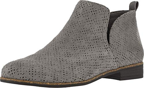 Dr. Scholl's Shoes Damen RATE Stiefelette, Dunkelgraues, perforiertes Mikrofaser-Wildleder, 42 EU