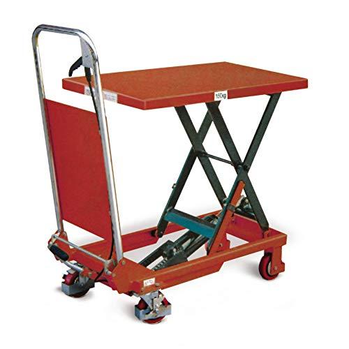 Stabilux Hubtischwagen, klappbarer Schiebebügel, Traglast 150 kg, Hubbhöhe 740 mm, Ladeplattform 750x450 mm, Rot