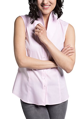 eterna Comfort Fit Bluse ohne Arm Kelchkragen Streifen rosa Größe 42