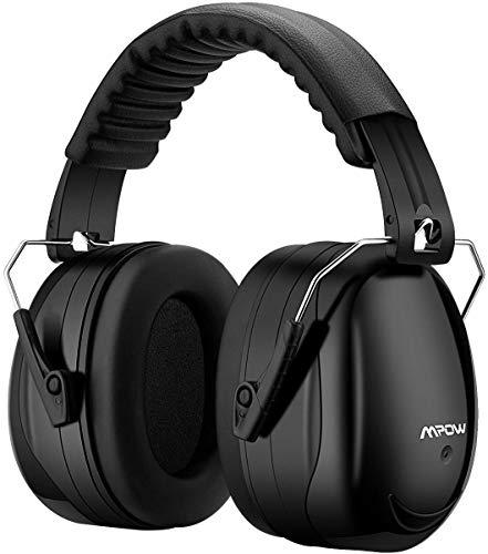 Mpow 056 Gehörschutz Kind und Erwachsene mit SNR 34dB, Größenverstellbare Ohrenschützer mit Faltbarer Kopfbügel für Lärm bis 98dB, Lärmschutz Kopfhörer für Gehörschutz Schiessen, Gartenarbeit-Schwarz